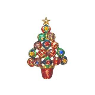 クリストファーラドコ・カラフルなオーナメントのクリスマスツリーブローチ