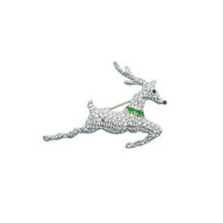 フランクリンミント・輝くトナカイのクリスマスブローチ