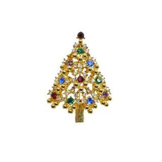 アイゼンバーグ・金色の珠とラインストーンのクリスマスツリーブローチ