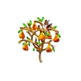 カドロ・パートリッジと梨の木のクリスマスブローチ