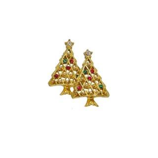 金色の小さなクリスマスツリーのピアス