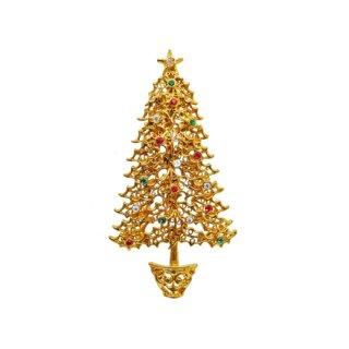 タンサー ツー・存在感のある金色のクリスマスツリーのブローチ