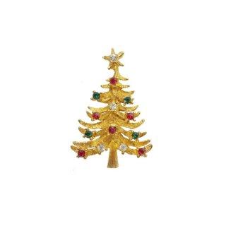 タンサー ツー・ラインストーンが煌くクリスマスツリーのブローチ