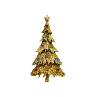 アート・シックな色合いのクリスマスツリーブローチ