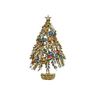 アート・ラインストーンのリボンで飾ったクリスマスツリーブローチ