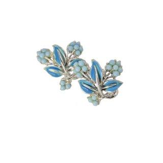 コロ・青いお花とリーフの大人可愛いイヤリング
