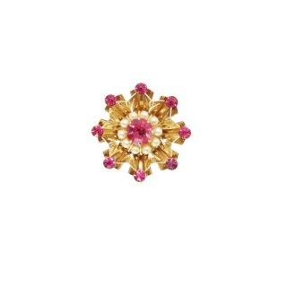 コロ・ピンク色ラインストーンと小粒パールのミニブローチ