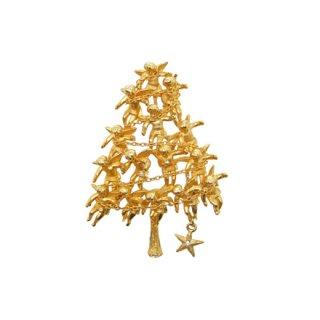 カドロ・小さな天使と星のクリスマスツリーブローチ
