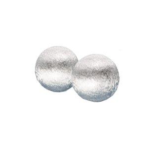 トリファリ・上品なドーム型の銀色イヤリング