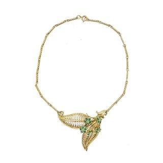 コロクラフト・グリーンのお花とリーフのネックレス(特許)