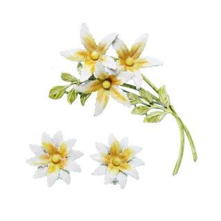 リスナー・ノスタルジックな白いお花のブローチセット