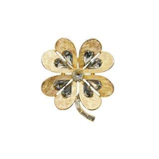トリファリ・上品な金色クローバーのブローチ