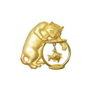 JJ・金魚と遊ぶ金色の猫のブローチ