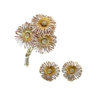 クレーマー・カッパー色の繊細なお花のブローチセット