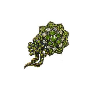 ホリークラフト・モードなオリーブ色のラインストーンのブローチ