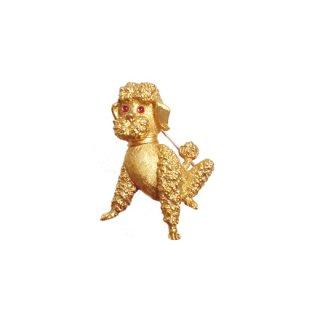 トリファリ・小さな金色プードルのブローチ