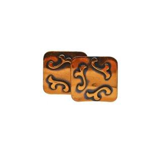 レトロなスクウェアー型の銅製イヤリング