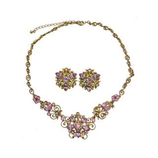 エイボン・フェミニンなラインストーンのお花のネックレスセット