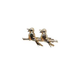 並んでさえずる可愛い二羽の小鳥のブローチ