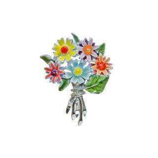 可愛いお花とリーフを束ねたブローチ