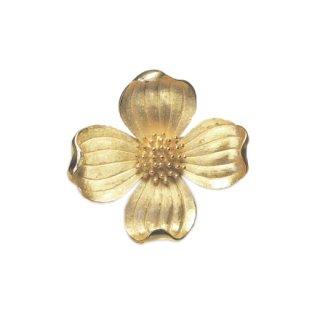 トリファリ・エレガントな金色ハナミズキのブローチ