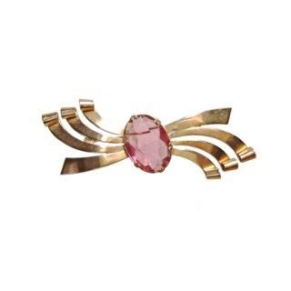コロスターリング・クラシカルな金色リボンのブローチ
