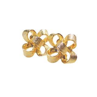 ケネスジェイレーン ・インパクトを放つ金色リボンのイヤリング