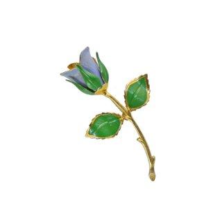 ジョバンニ・青い薔薇の蕾とリーフのブローチ