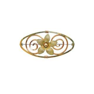 ダイアナ(クレメンツ)・お花とオーバル型フレームのブローチ
