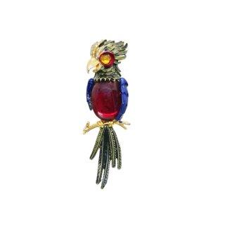 アート・綺麗な鸚鵡のブローチ