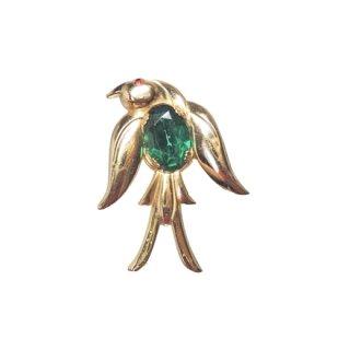 コロ・レトロモダンなグリーンのツバメのブローチ