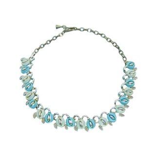 レトロ可愛いブルーのお花と小さなリーフのネックレス