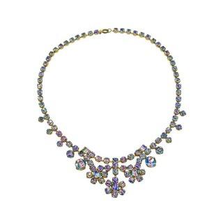 美しい煌くアイリスガラスのネックレス