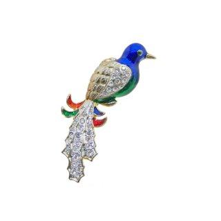 大きな青い鳥のブローチ