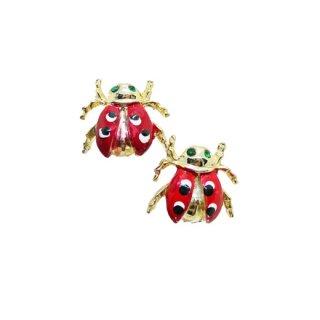 ラブリーな二匹のテントウ虫のミニブローチセット