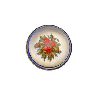 赤い薔薇のプリントのドーム型ブローチ