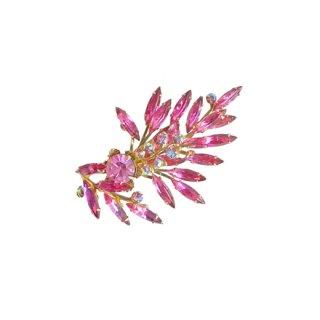 ジュディーリースタイルの綺麗なピンクラインストーンのブローチ