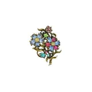 ホリークラフトスタイル・ラインストーンのお花のブローチ