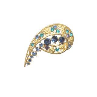 スフィンクス・ブルーラインストーンの美しいブローチ