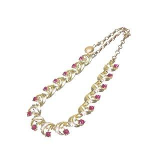 コロ・ピンクラインストーンのお花とリーフのネックレス