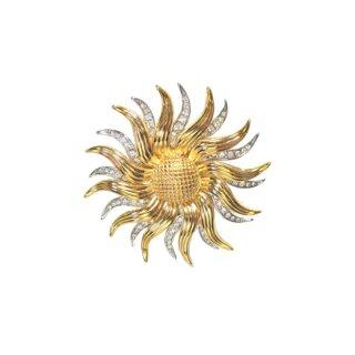 ケネスジェイレーン・金と銀の華やかなフラワーモチーフのブローチ