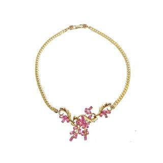ホリークラフト・ピンクラインストーンのお花のネックレス