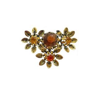 オーストリア・三輪の金色のお花のブローチ