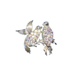 コロ・煌く二羽の可愛い小鳥のブローチ