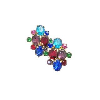 チェコスロバキア・綺麗な色彩のラインストーンイヤリング