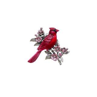 JJ・綺麗な赤い鳥カーディナルとピンクのお花のブローチ