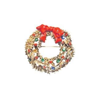 アート・金色リーフとリボンのクリスマスリースブローチ