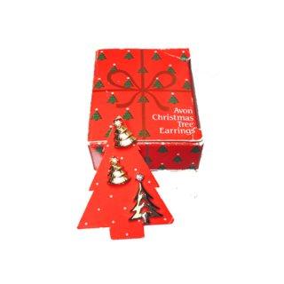 エイボン・クリスマスツリーの箱付ピンバッチとピアスのセット