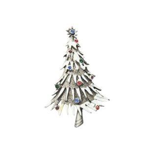 JJ・煌く雪が降り積もった銀色クリスマスツリーブローチ