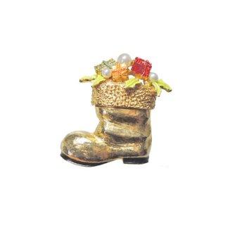 アート・ゴールドカラーのクリスマスブーツブローチ